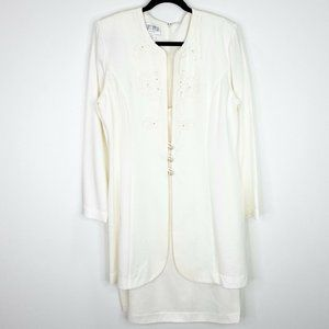 Julian Taylor Vintage White Jacket Dress Size 12